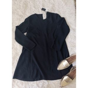 ZARA black long sleeve everyday crew neck dress